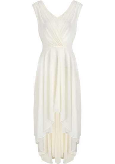 Apricot V Neck Sleeveless Pleated Chiffon Dress
