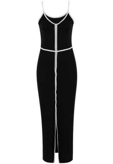 Black Spaghetti Strap Contrast Trims Split Dress