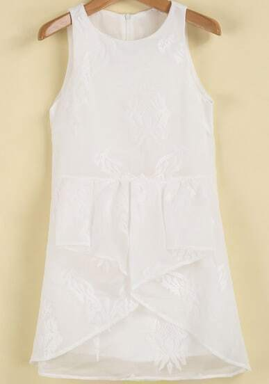 White Sleeveless Embroidered Ruffle Chiffon Dress