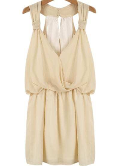 Apricot Deep V Neck Pleated Chiffon Dress