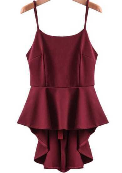 Wine Red Spaghetti Strap Ruffle High Low Dress