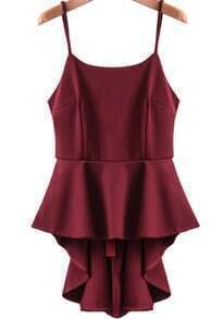 Wine Red Spaghetti Strap Ruffle High Low Dress