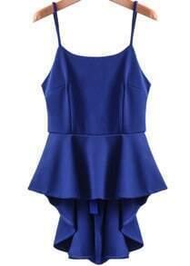 Blue Spaghetti Strap Ruffle High Low Dress