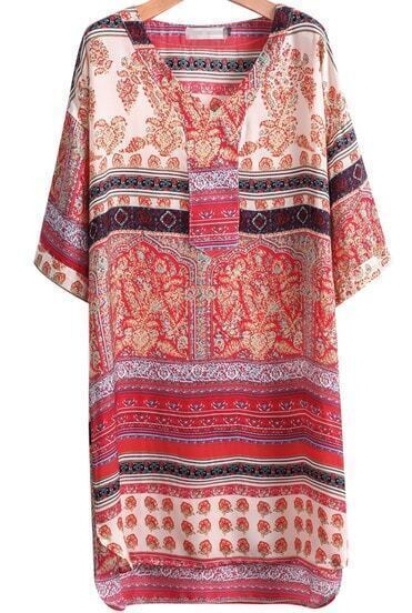 Red Half Sleeve Vintage Floral Loose Dress