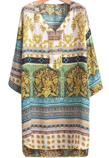 Yellow Half Sleeve Vintage Floral Loose Dress
