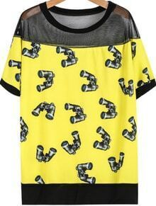 Yellow Contrast Sheer Mesh Yoke Telescope Print T-Shirt
