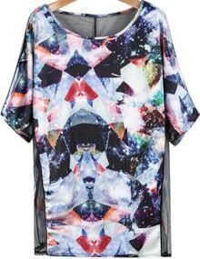 Black Contrast Sheer Mesh Yoke Galaxy Print T-Shirt