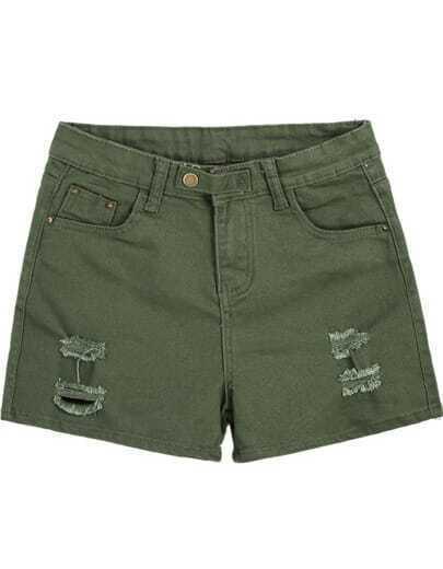 Green Pockets Ripped Denim Shorts