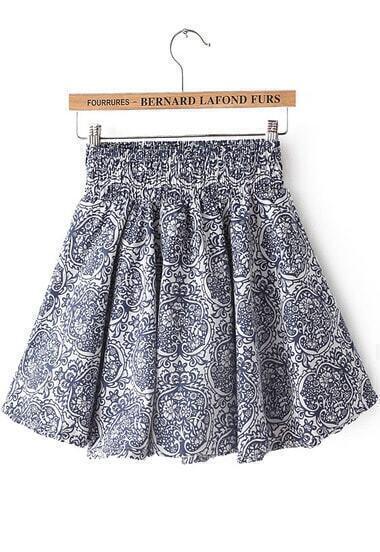 Blue Elastic Waist Vintage Floral Pleated Skirt