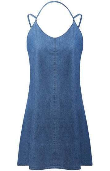 Blue Halter Split Backless Denim Dress