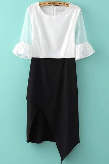 Black White Sheer Mesh Yoke Half Sleeve Asymmetrical Dress