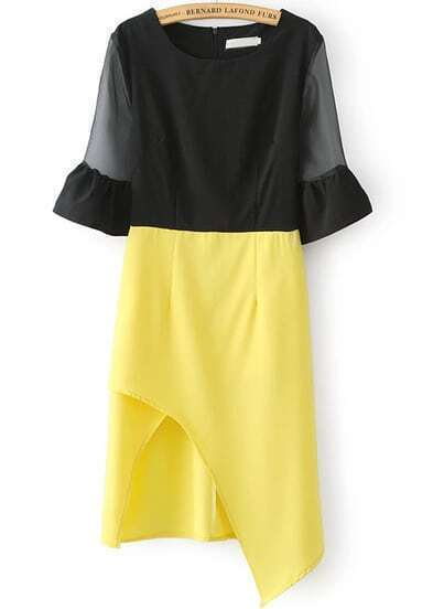 Black Yellow Sheer Mesh Yoke Half Sleeve Asymmetrical Dress