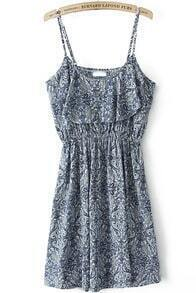 Blue Spaghetti Strap Vintage Floral Dress