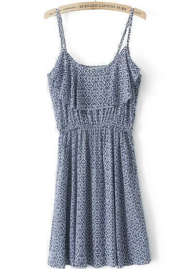 Blue Spaghetti Strap Vintage Floral Pleated Dress