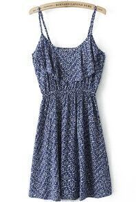 Blue Spaghetti Strap Floral Pleated Dress
