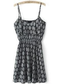 Black Spaghetti Strap Vintage Geometric Print Dress
