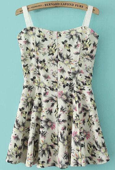 Beige Spaghetti Strap Daisy Print Pleated Dress