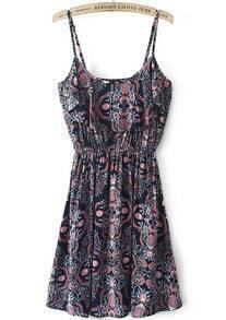 Black Red Spaghetti Strap Vintage Floral Dress