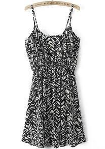 Black White Spaghetti Strap Geometric Print Dress