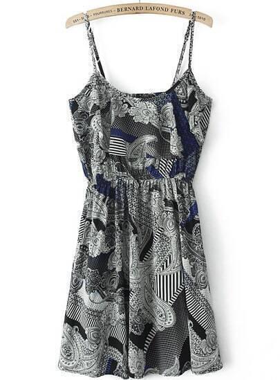 Black White Spaghetti Strap Geometric Print Pleated Dress