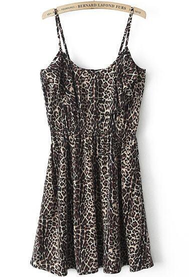 Yellow Spaghetti Strap Leopard Pleated Dress