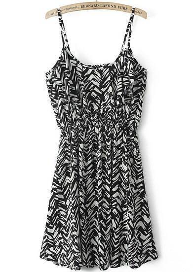 Black White Spaghetti Strap Geometric Print Dress