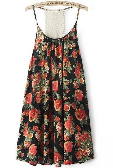Black Spaghetti Strap Backless Floral Loose Dress