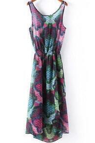 Purple Sleeveless Floral Asymmetrical Chiffon Dress