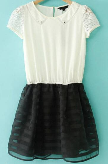 White Lace Short Sleeve Contrast Black Organza Dress
