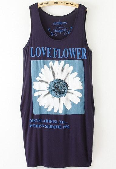 Navy Sleeveless Letters Daisy Print Dress