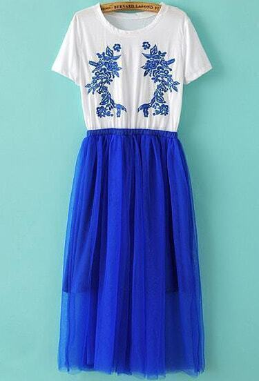 White Blue Short Sleeve Embroidered Pleated Dress