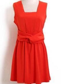 Orange Sleeveless Bow Slim Pleated Dress