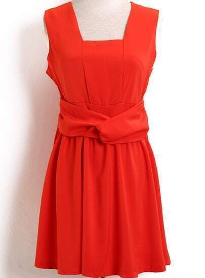 Orange Sleeveless Bow Slim Pleated Dress