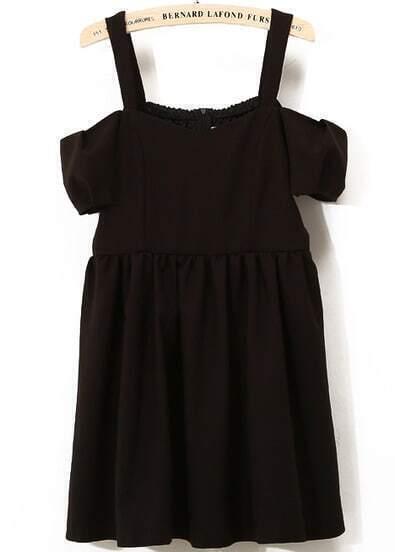 Black Spaghetti Strap Pleated Chiffon Dress