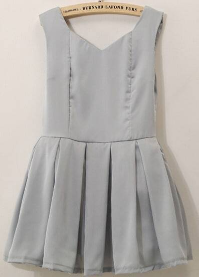 Grey Sleeveless Bow Pleated Flare Dress