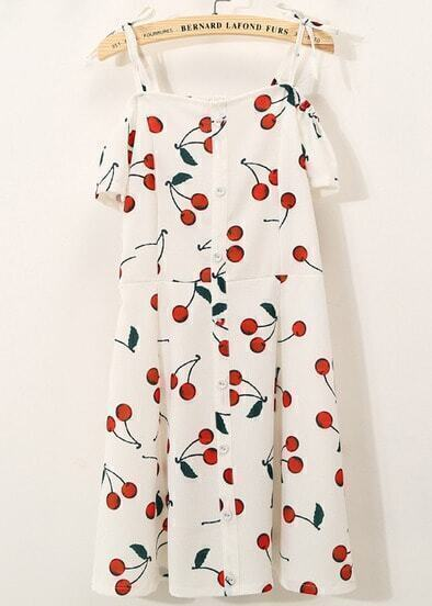 White Off the Shoulder Cherry Print Chiffon Dress