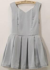 Grey Sleeveless Bow Pleated Flare Dress