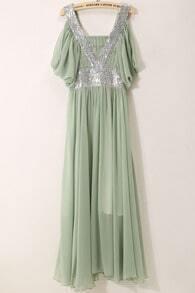 Green V Neck Off the Shoulder Pleated Dress