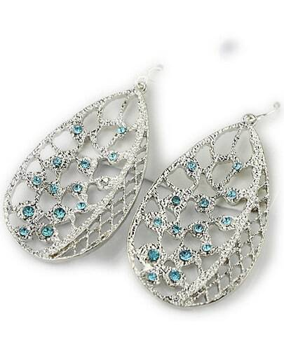 Silver Diamond Hollow Leaf Dangle Earrings