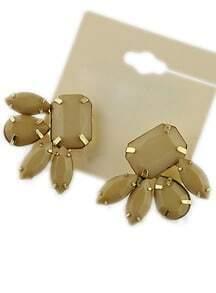 Brown Geometric Gemstone Gold Stud Earrings