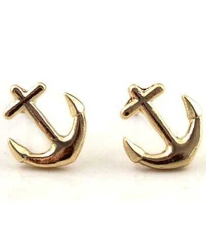 Gold Anchors Stud Earrings