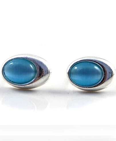 Blue Gemstone Silver Stud Earrings