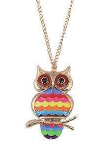 Multicolor Glaze Gold Owl Chain Necklace