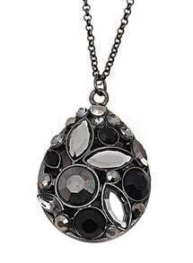 Black Gemstone Retro Silver Drop Necklace