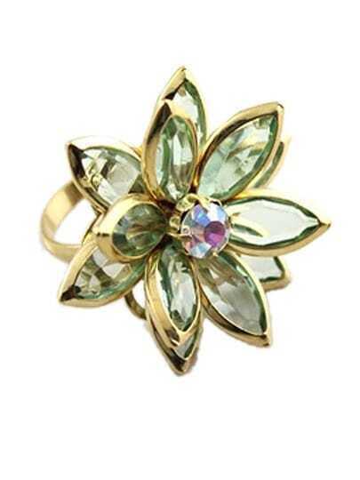 Green Gemstone Gold Flower Ring