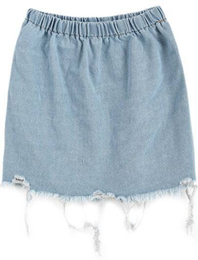 Blue Elastic Waist Fringe Denim Skirt