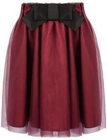 Wine Red Bow Pleated Gauze Skirt
