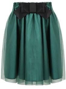 Green Bow Pleated Gauze Skirt