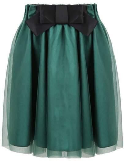 Green Bow Pleated Gauze Skirt