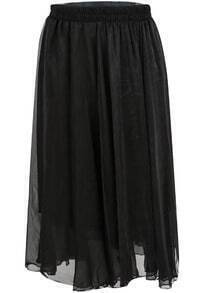 Black Elastic Waist Pleated Chiffon Skirt
